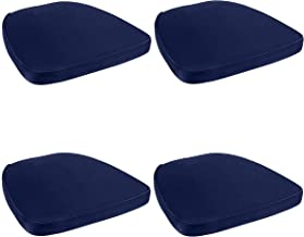 Prime Products 4 Pack Blue Chair Pad | Seat Padded Cushion |Polycore Thread Soft Fabric, Straps and Removable Zippered Cover
