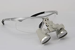 Ymarda Optics New Colors CH3.5x dental loupes with nice looking for beginner (Silver frame 3.5x Magnifier with different working distances) (L (440-540mm) with Sliver frame)