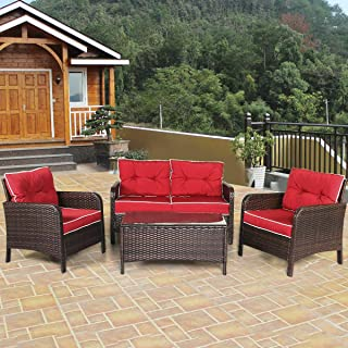 Handmade Casual Leisure Talking Station Set of 4 Pcs Terrace Deck Pool Brown Weaved Wicker-Work Red Filled Cushion Daybed 2 Armchair with Glass Top Coffee Table Inner Outdoor Conversation Set