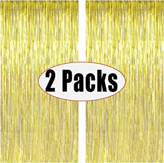 Party Gold foil metallic curtain 2 m Photo Booth Tinsel Backdrop Door Curtains Perfect For Party Decorations-Golden