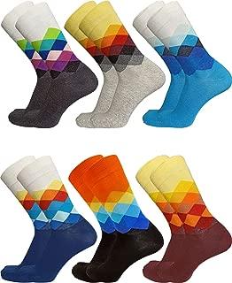 Dress Socks for Men Funny Socks Patterned Novelty Crazy Socks Women Cotton Crew Socks Fashion 6 Pack