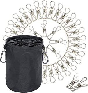 Megon Clothes Laundry Metal Clothepins and Bag with Hanger Clips | Stainless Steel Pins Hanging Windproof Against Rust for Outdoor, Home, Kitchen, Bathroom, Garden, Balcony | 60 Pack Pegs and Bag