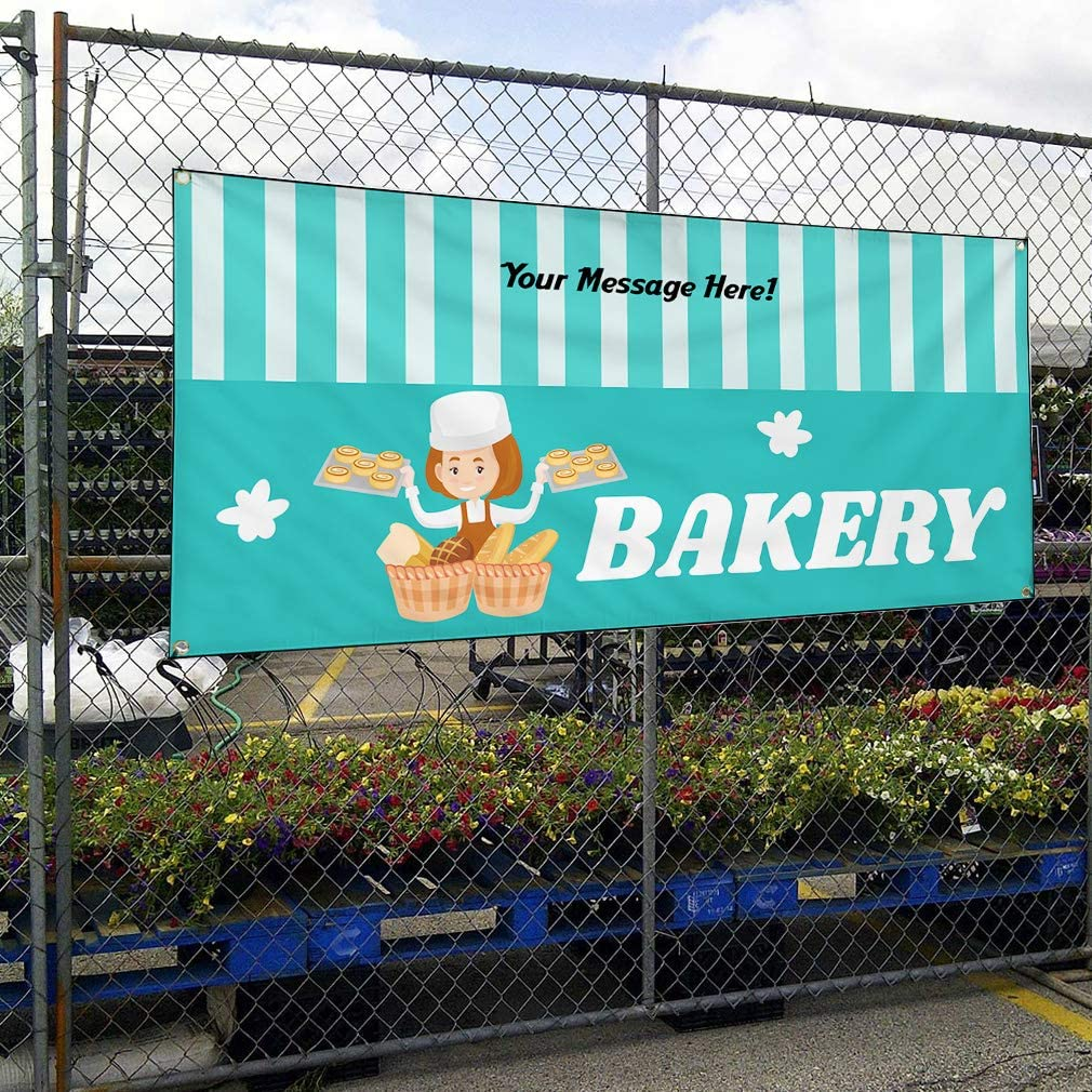 Custom Industrial Vinyl Banner Multiple Sizes Bakery Style A Personalized Text Here Business Outdoor Weatherproof Yard Signs Teal 6 Grommets 36x90Inches