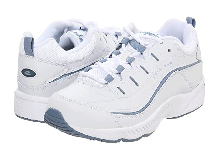 Easy Spirit  Romy (White/Medium Blue Leather) Womens Walking Shoes