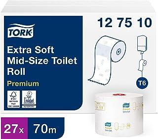 Tork Mid Size toiletpapier, middelgroot, T6-systeem, 70 m x 9,9 cm, 27 rollen van elk 70 m