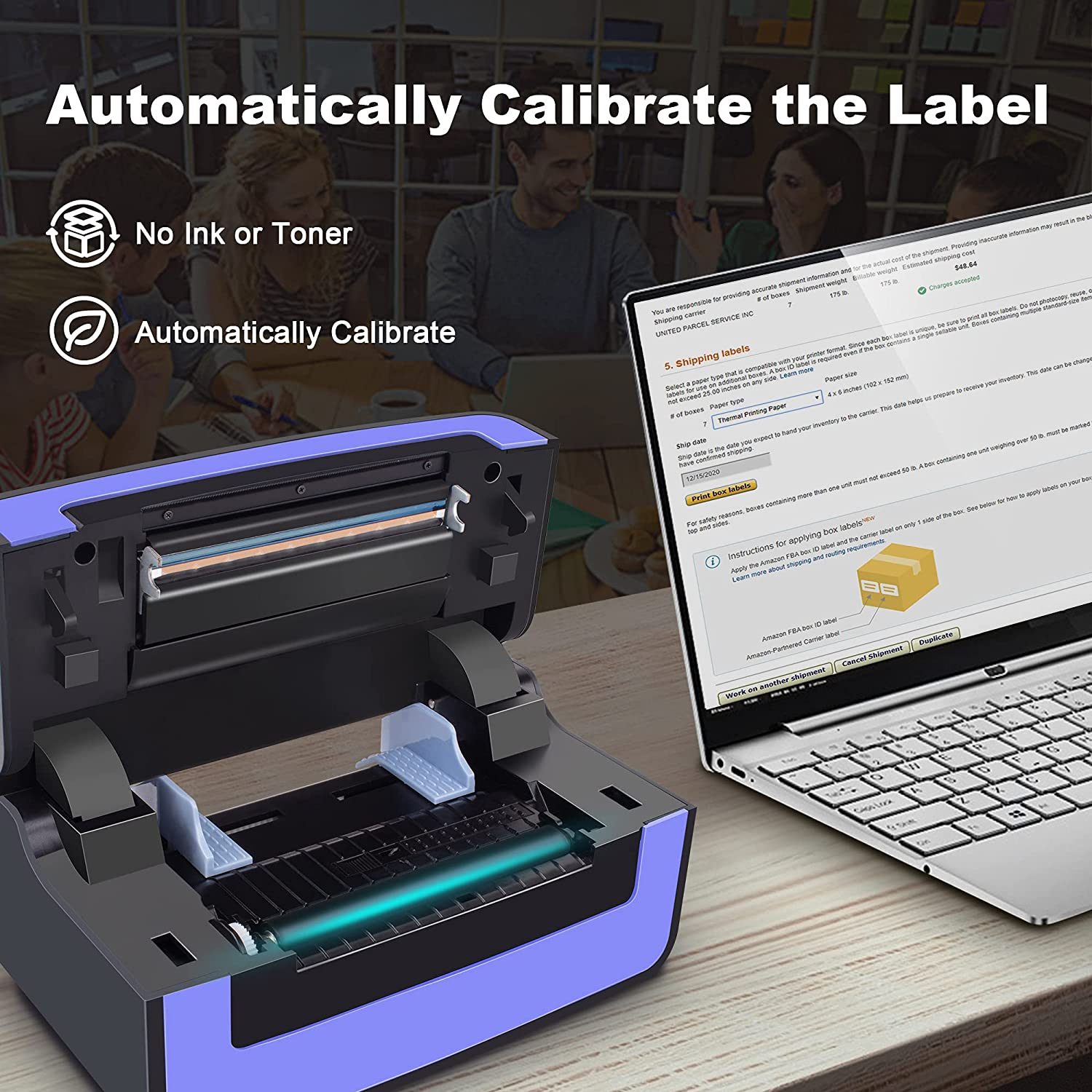 Polono Label Printer - 150mm/s 4x6 Thermal Label Printer, Commercial Direct Thermal Label Maker, Compatible with Amazon, Ebay, Etsy, Shopify and FedEx, One Click Setup on Windows and Mac