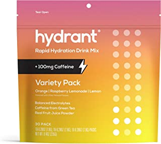 HYDRANT Electrolyte Powder Caffeine & L-Theanine Variety 30 Pack, Rapid Hydration Drink Mix, Rehydrate Electrolyte Mix, 10...