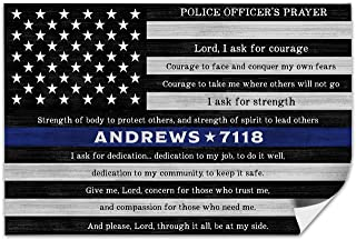 Pretty Perfect Studio Thin Blue Line Flag Wall Decor, A Personalized Police Officer Prayer Gift for The Home   Deputy Sheriff Law Enforcement Last Name Art   11