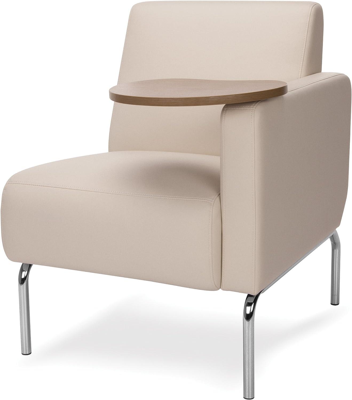 Amazon Com Ofm Triumph Series Left Arm Modular Lounge Chair With Bronze Tablet Polyurethane Seat And Chrome Feet Cream Furniture Decor