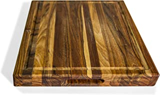 """Naturally Teak wood cutting chopping board 24 x18 x1.5"""" Deep Juice Groove edge grain better than bamboo reversible Rectangle Sustainable Wooden Carving Board with Hand Grip Extra Large"""