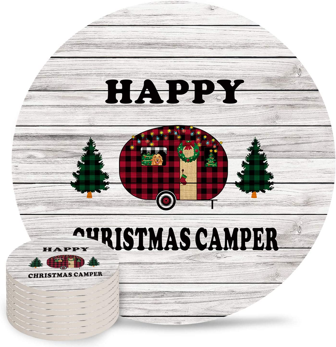 Christmas Coasters Round Drinks Absorbent Max 79% OFF Cera Coaster Set Weekly update with