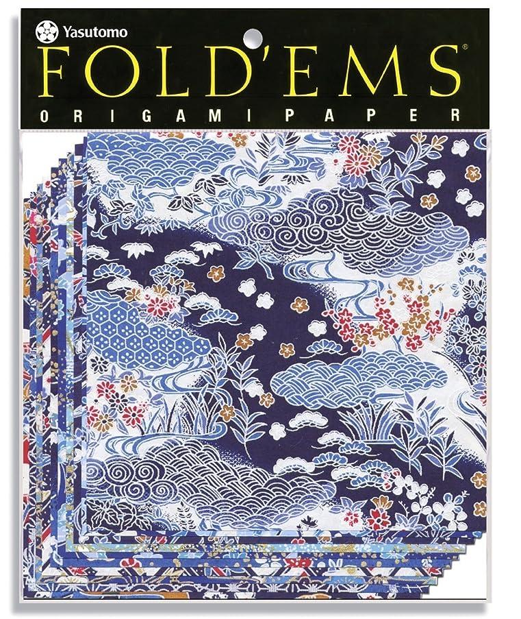 Yasutomo Fold'Ems Origami Paper, 5 7/8 X 5 7/8 inches, Yuzen Blue, 10 Sheets (4336)