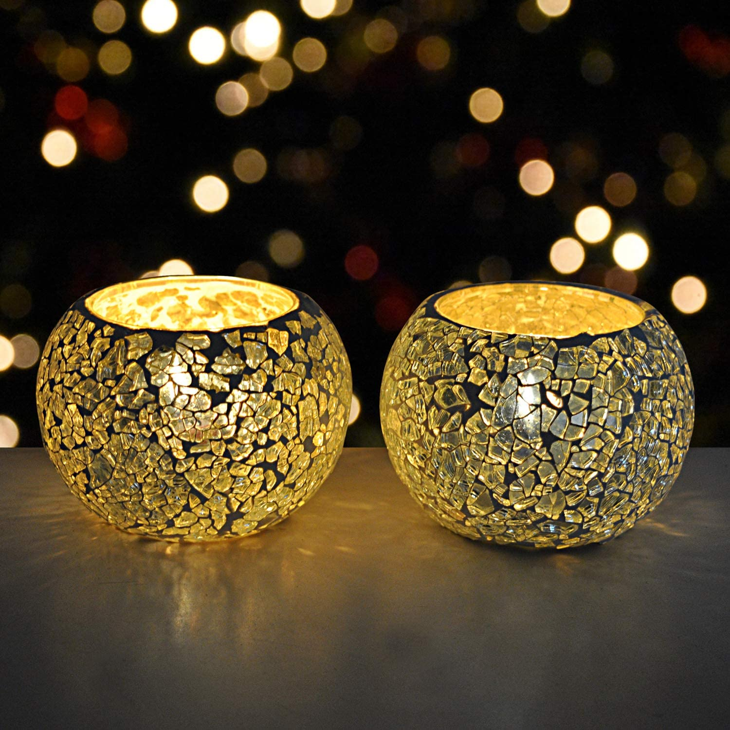 DecorHack by Arusaya Crackle Glass Cheap mail order specialty store Light Holders Candle Voti Tea Max 64% OFF