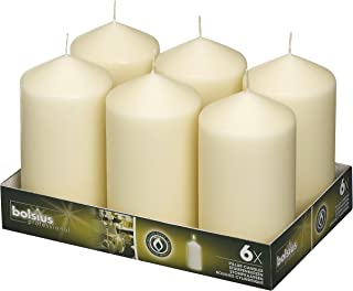 BOLSIUS Tray of 6 Ivory Pillar Candles - 65 Long Burning Hours Candle Set - 3-inch x 6-inch Dripless Candle - Perfect for Wedding Candles, Parties and Special Occasions