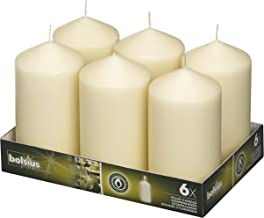 BOLSIUS Set of 6 Ivory Pillar Candles – 3×6 inch Unscented Candle Set –..