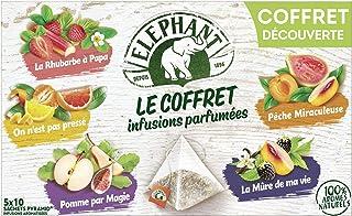 Elephant Coffret Infusion Parfumées Assortiment de 5 Variétés aux Arômes Naturels, Les 50 Sachets, 94g