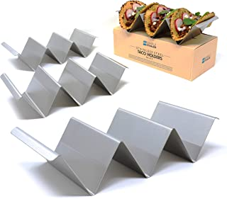 Taco Holder Stands with Handles - Set of 4 - Crafted from Food Grade Stainless Steel - Each Rack Holds 3 Tacos/Tortillas - Compact Design with Handles - For Restaurant & Home Use - By SimpleStainless