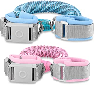 Betertek Anti Lost Wrist Link with Magnetic Induction Lock 2 Pack (4.92ft Pink+8.2ft Blue) Toddler Wrist Leash for Kids Ch...