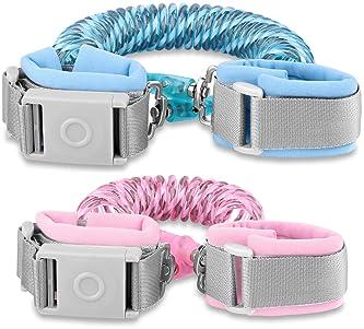Betertek Anti Lost Wrist Link with Magnetic Induction Lock 2 Pack (4.92ft Pink+8.2ft Blue) Toddler Wrist Leash for Ki...