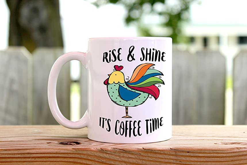 Rise and Shine - Chicken Cup - Rooster Coffee Mug - Coffee Mug - Crazy Chicken Lady - Gift for Her - Morning Person - Rustic Mug