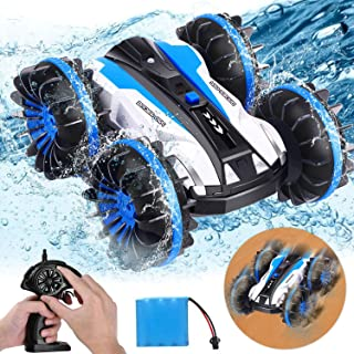 AMENON RC Stunt Car Kids Toy 3 in 1 Land Water Snow Amphibious Remote Control Car Boat 1:16 Scale 360° Rotating 4WD 2.4Ghz...