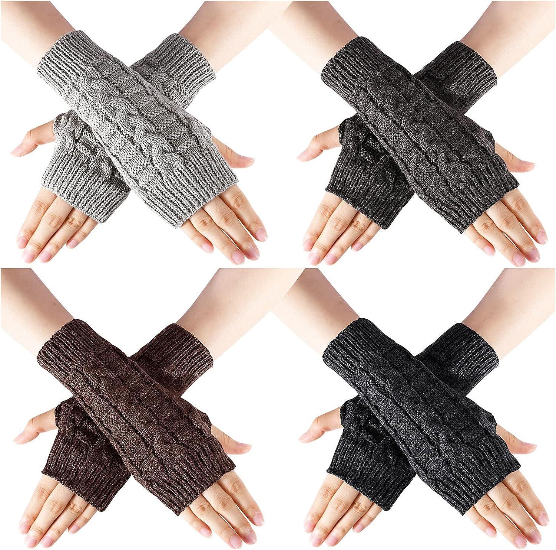 SOCKFUN Knit Fingerless Gloves for Women Hand Warmer Gloves, Thumbhole Warm Winter Fingerless Mittens for Women 4 Pairs