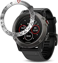 BaiHui Stainless Steel Bezel Ring Compatiable with Garmin Fenix 5X Watch Bezel Ring Adhesive Cover Anti Scratch & Collision Protector for Garmin Watch Accessory (Black - Not Fit Fenix 5 / 5X Plus)