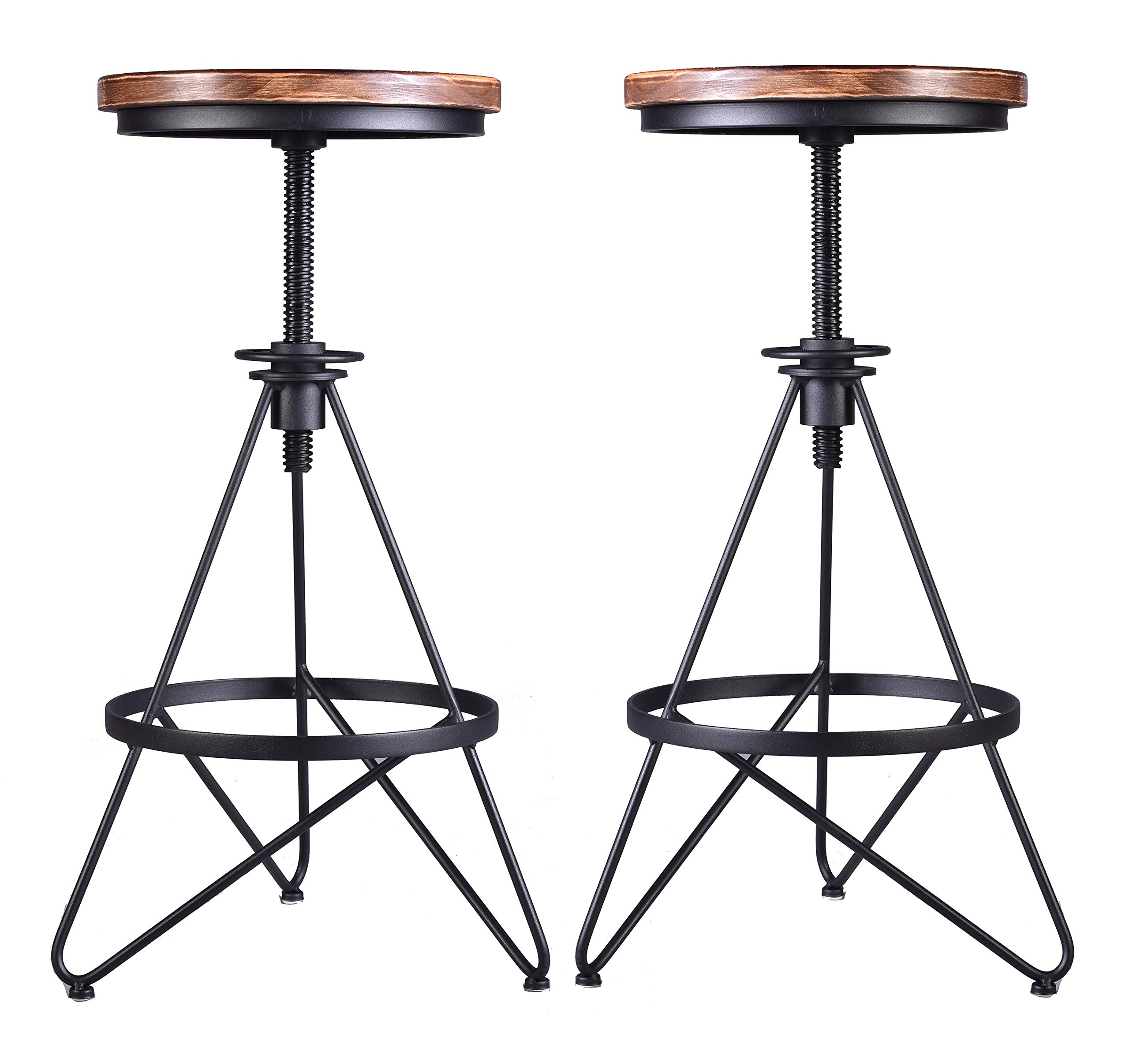 Set Of 2 Industrial Bar Stool Vintage Adjustable Swivel Stool Wood Metal Stool Rustic Farmhouse Bar Stool Counter Height Pub Height Extra Tall Stool Cast Iron 24 30 Inch Backless Fully Assembled Buy Online In India At Desertcart