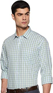 Amazon Brand - Symbol Men's Checkered Regular Fit Full Sleeve Cotton Formal Shirt