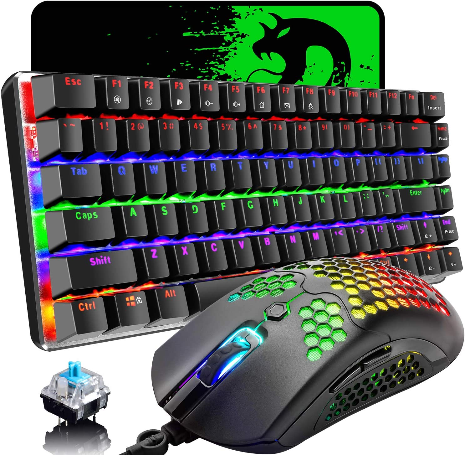 Gaming Keyboard and Mouse,3 in 1 Gaming Set,Rainbow LED Backlit Wired Gaming Keyboard,RGB Backlit 12000 DPI Lightweight Gaming Mouse with Honeycomb Shell,Large Mouse Pad for PC Game(Black)