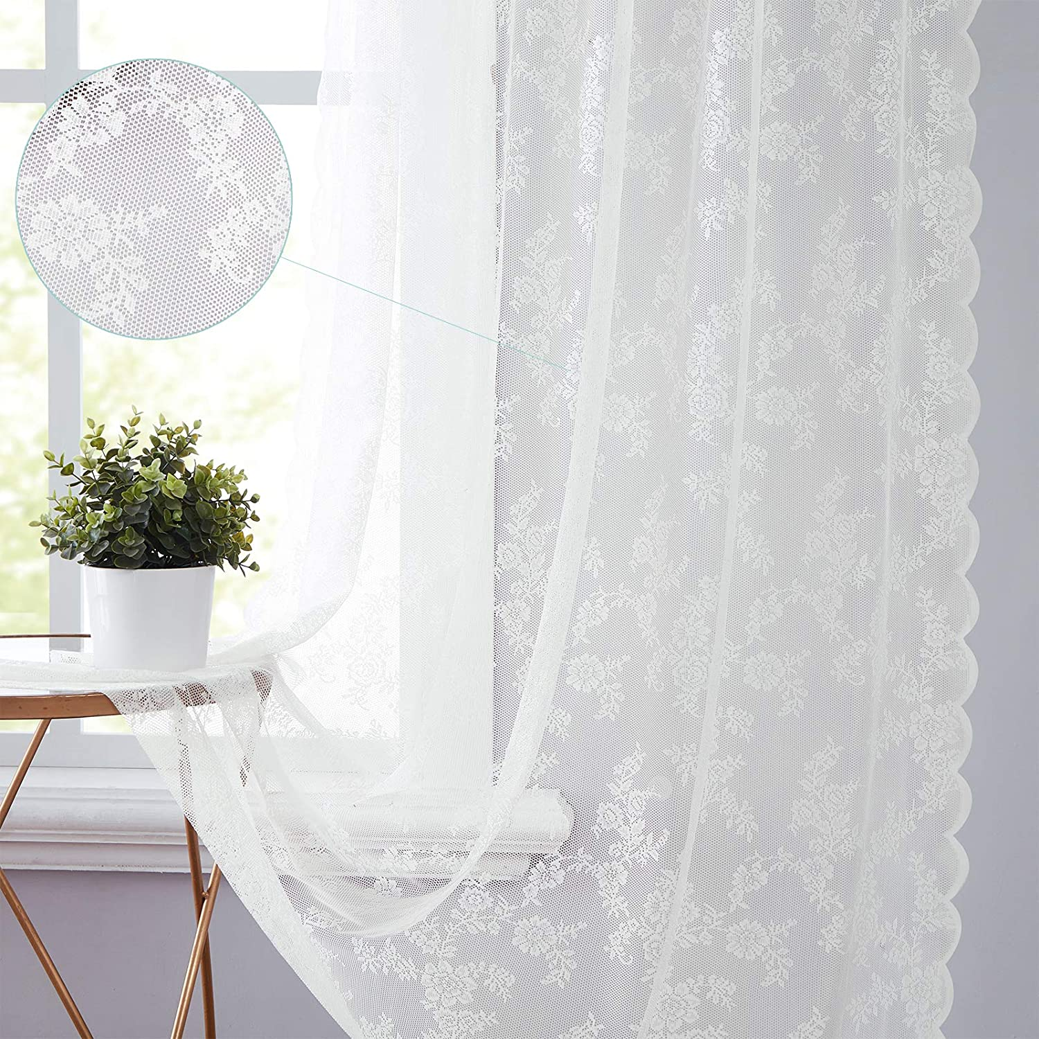 Rose Lace Sheer Curtains Free Shipping New White 63 Vintage Length inch Floral Tulsa Mall Emb