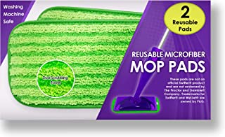 Reusable Mop Pads Fit Swiffer WetJet - Washable Microfiber Mop Pad Refills by Turbo - 12 Inch Floor Cleaning Pads Fit Both Dry Mops and Wet Jet Mop Heads - 2 Pack