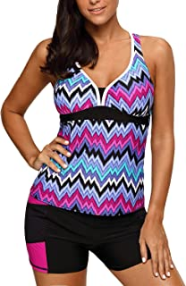 Womens Two Piece V-Neck Tankini Swimsuit with Boardshort Plus Size