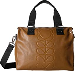 Orla Kiely Embossed Flower Stem Leather Zip Messenger