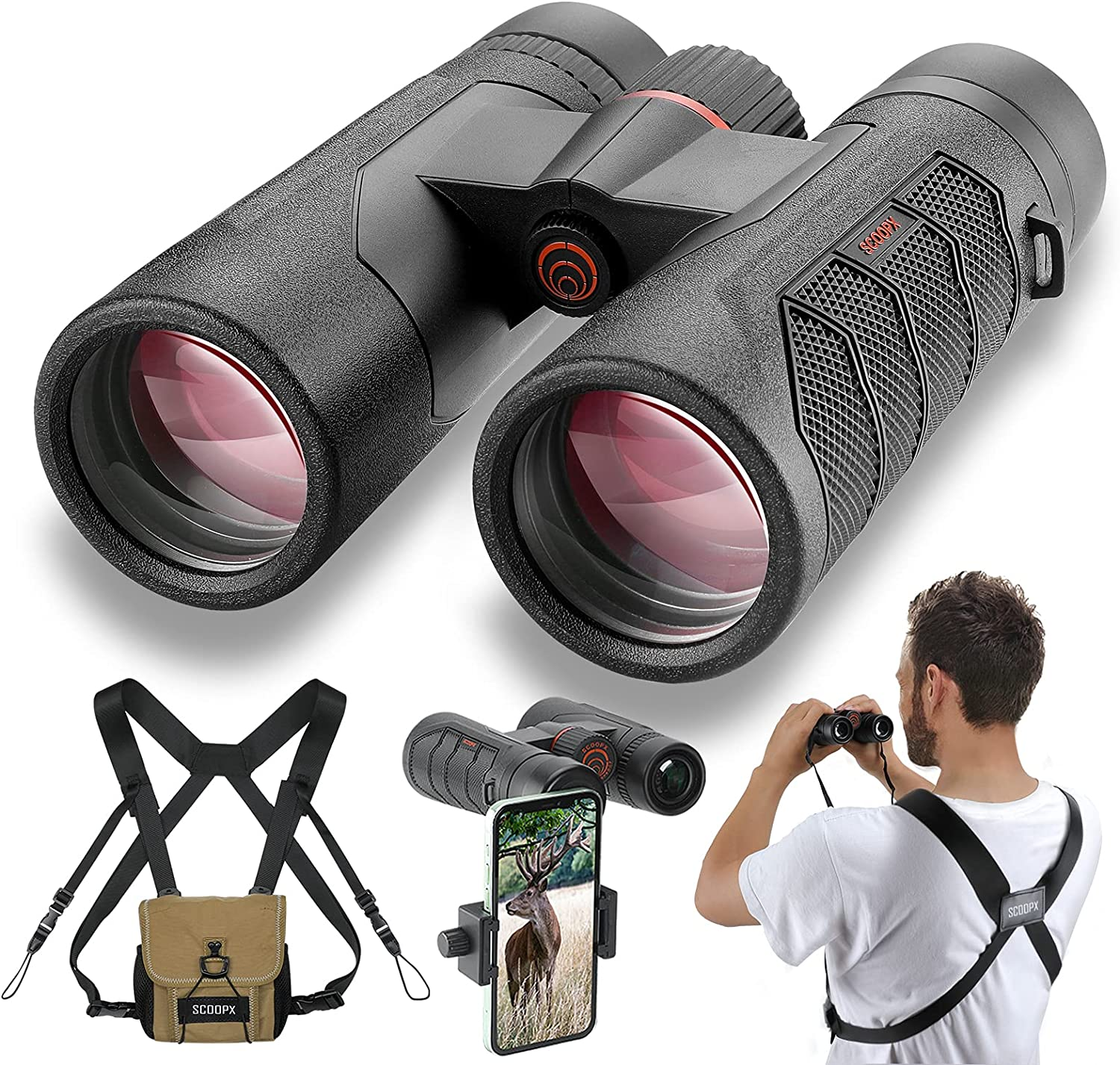 10x42 Ultra HD Ranking TOP12 Binoculars with Popular product Phone - 24mm and Adapter Harness