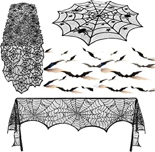 Uddiee 39 pcs Halloween Decorations Set Black Spiderweb Fireplace Mantle Scarf with Black Table Runner Lace Cover and 3D Bats Wall Stickers