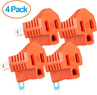 Yubi Power Grounding Adapter Plug - Grounded Outlet Adapter - 2 Prong to 3 Prong Adapter - 4 Pack - Orange
