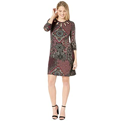 Gabby Skye Knit Placement Print Dress (Wine/Multi) Women