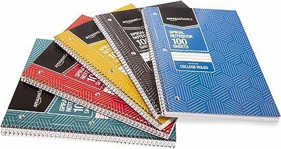 Amazon Basics College Ruled Wirebound Spiral Notebook, 100 Sheet, Assorted Sunburst Pattern Colors, 5-Pack