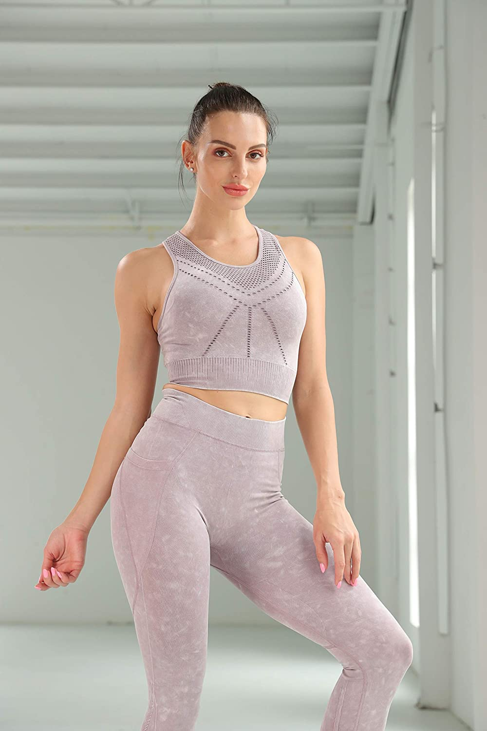 AABB Women/'s Workout 2 Pieces Suits-Seamless Streth Sports Bra and High Waist Leggings Gym Clothes