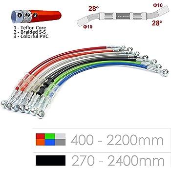 500 mm-2000 mm JFG Racing Durite hydraulique renforc/ée argent/ée pour frein embrayage de motocross Dirt Bike enduro