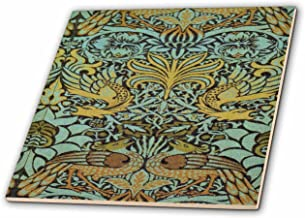 3D Rose Image of William Morris Peacock and Dragon in Gold and Aqua Ceramic Tile, Multicolor