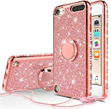 [GW USA] Glitter Ring Stand Case for iPod Touch 6/iPod Touch 5 Case,Bling Diamond [2 in 1] Hard TPU Case for Apple iPod Touch 5/6th Generation - Rose Gold