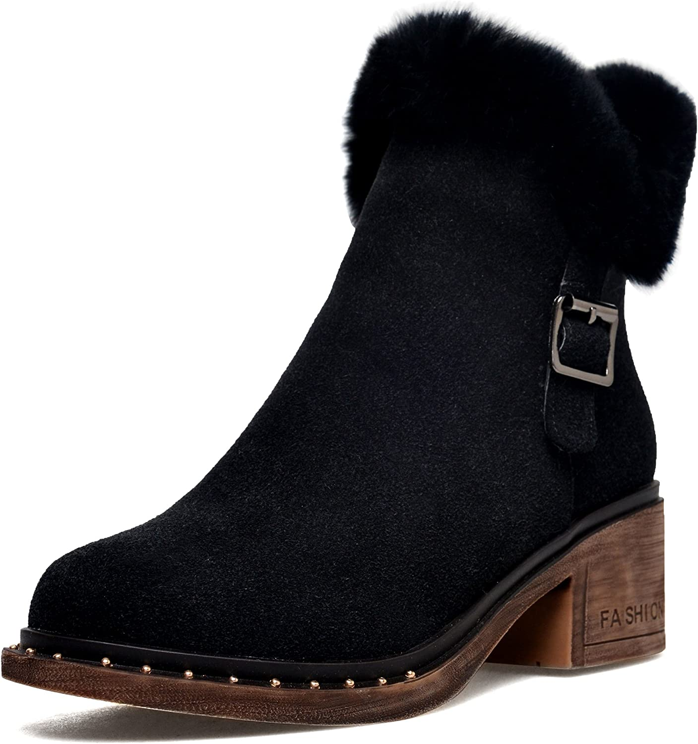 DoraTasia Women's Buckle Leather Nubuck Faux Fur Pointed Toe Chunky Heel Ankle Boots