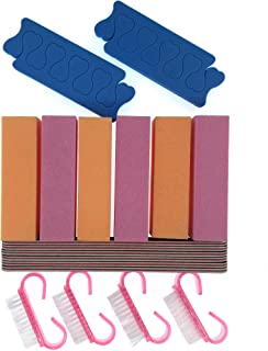 Nail Files and Buffers Set| Care Essentials Professional Manicure Pedicure Tools Kit| Includes 6pc 120 Grit Buffer Blocks, 6pc 100/180 Grit Files, 4pc Dusting Brush and 4pc Toe Separators| 20pcs/pk
