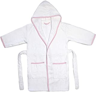 Princess Charlotte Style Kids Bathrobe. Luxury Kids White Pink Checkered Binding Hooded Bathrobe. for Girls Cute and Cuddly Robes. Super Soft and Absorbent. Made in Turkey. (Pink)