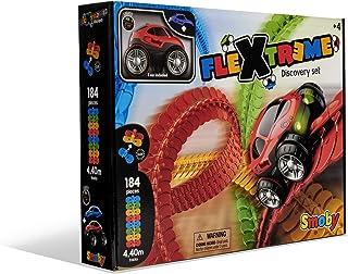 Smoby - FleXtreme - Set Découverte - 4m40 de Circuit de Voiture - 184 Pistes Flexibles et Modulables + 1 Véhicule Effets L...