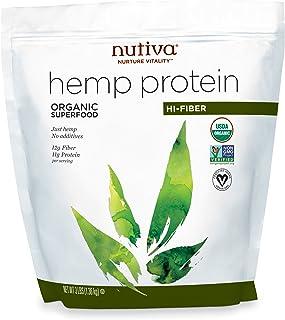 Nutiva Organic Cold-Pressed Raw Hemp Seed Protein Powder, Hi-Fiber, 3 Pound USDA Organic, Non-GMO Vegan, Gluten-Free, Keto...