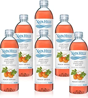 Napa Hills Wine Antioxidant Water - Peach Flavored Wine Water, Non-Alcoholic Resveratrol Enriched Drink - Peach Grigio 6 Pack - No Wine Taste, No Carbs, No Calories, Sugar Free