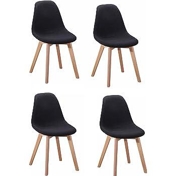 Meubletmoi Lot de 4 chaises Design tapissées en Tissu Gris